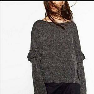 Zara Ruffle Sleeve Sweater